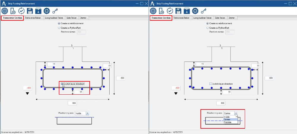 In 'Transverse Section' Tab, you can: Define concrete cover, height, width and bottom elevation of the foundation. Switch the layer between transverse and longitudinal rebar