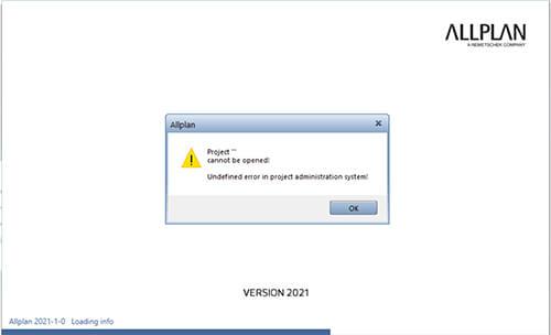 save data failed access blocked allplan project
